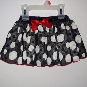 Disney black & white polka dot polyester skirt, 2T
